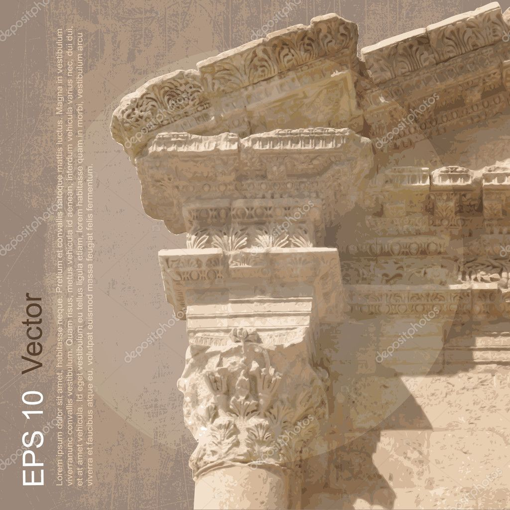 Ancient architecture. Vector clip-art, isolated on neutral background  Stock Vector #10072031