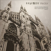 Facade of Milan Cathedral (Duomo di Milano), Lombardy, Italy — Vettoriale Stock