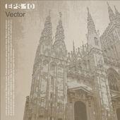 Facade of Milan Cathedral (Duomo di Milano), Lombardy, Italy — Stock Vector