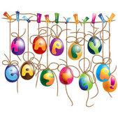 Hanging Easter Eggs - design element. Vector clip-art — Stock Vector