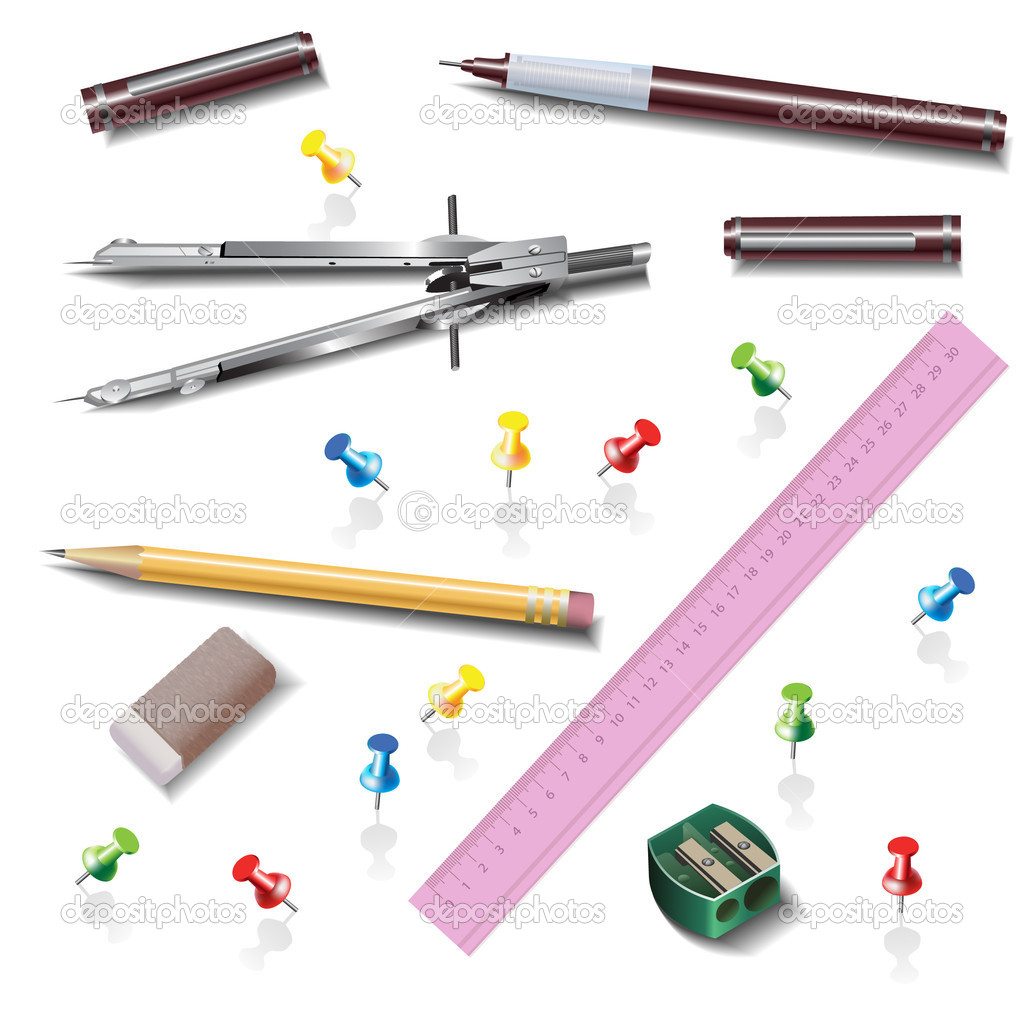 Architecture drawing tools stock vector nahariyani for Architecture drawing tools