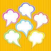 Set of colorful speech bubbles with smooth transparent shadow — Stock Vector
