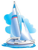 Vector drawing of the yacht against clouds — Stock Vector