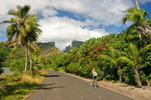 Girl riding a bicycle through the tropical island Bora Bora , French Polynesia — Foto Stock