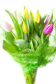 Bouquet of tulips isolated on white background — Stock Photo