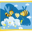 Spring vintage card with bees — Stock Vector