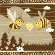 Spring vintage card with bees — Stock Vector #9617026
