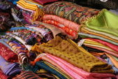 Colourful silk scarves — Stock Photo