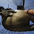 Pulley on tall ship - Stock Photo