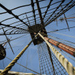 Stock Photo: Three masts on tall ship