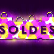 Soldes. Violet illustration - Stock Photo