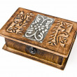 Jewel Handmade Wood Box on white background — Stock Photo