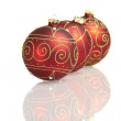 Three red big christmas balls mirrored on white background — 图库照片