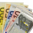 Euro banknotes notes widespread — Stock Photo