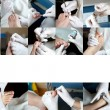Stock Photo: Foot Care in process - Photo Collage