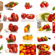 Royalty-Free Stock Photo: Collage of many different varieties of organic tomatoes