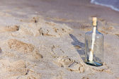 Help message in a bottle on beach — Stock Photo