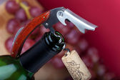 A corkscrew with cork on the top of bottleneck — Stock Photo