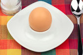 Breakfast egg in an egg cup with spoon and salt mill — Stock Photo