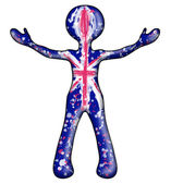 Flag of the United Kingdom entered into a symbolic human contour — Stock Photo
