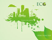 Green eco town - abstract ecology town illustration — Stock Vector
