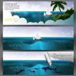 Vector illustration of summer beach banners set — Stock Vector #10155178