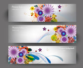 Illustration of set of banner with different flower — Stock Vector