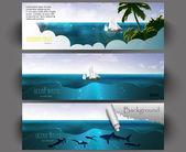 Vector illustration of summer beach banners set — Stock Vector