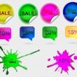 raccolta di biglietti in vendita vettore colorato, timbri, adesivi, etichette, angoli, tag su sfondo bianco — Vettoriale Stock