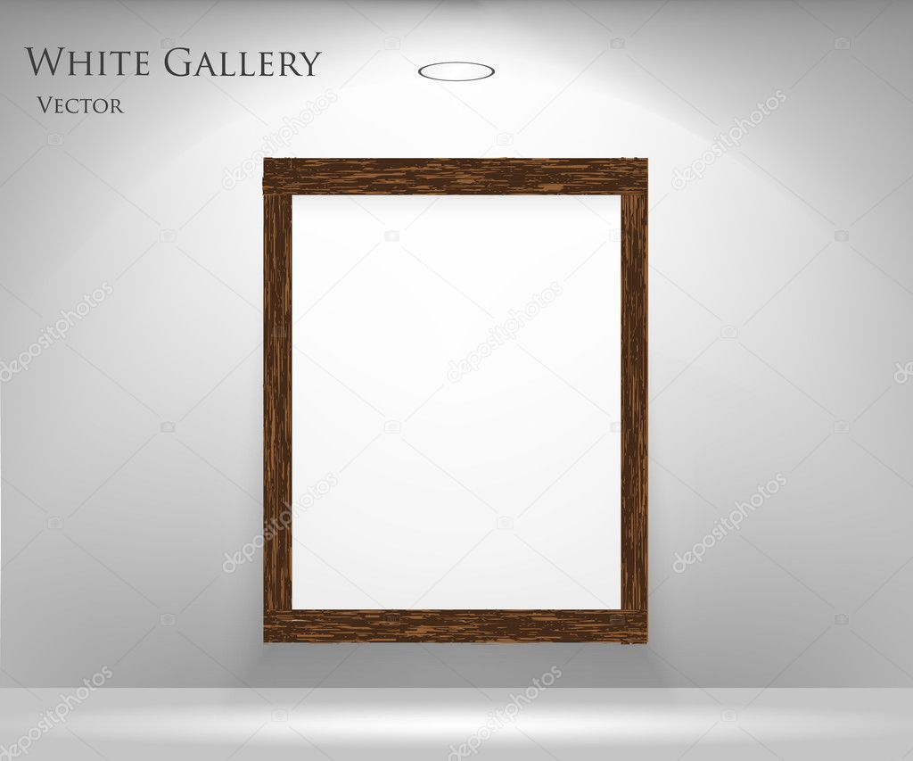 Gallery Interior with empty frames on wall — Stock Vector #9978279