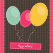 Stock Vector: Textile birthday card