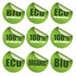 Green Bio stickers — Stock Vector