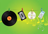 Music media illustration — Vettoriale Stock