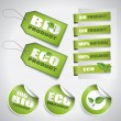Stock Vector: Bio green labels and tags