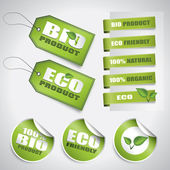 Bio green labels and tags — Stock Vector