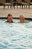 Seniors in the Hot tub — Stock Photo