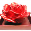Red aroma spa rose candle in box — Stock Photo