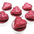 Pink aroma spa candles set heart shape — Stock Photo