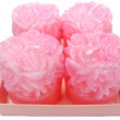 Pink aroma spa candles set rose flower shape — Stock Photo