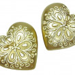 Foto de Stock  : Bronze sparomcandles set heart shape
