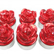 Red spa aroma candles set rose flower shape — Stock Photo #10039221