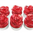 Red spa aroma candles set rose flower shape — Stock Photo