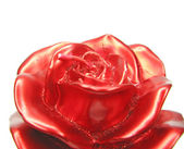 Red spa aroma rose candle closeup — Stock Photo