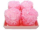 Roze aroma spa kaarsen instellen rose bloem shape — Stockfoto