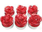 Velas de aroma spa rojo establecer forma de flor color de rosa — Foto de Stock