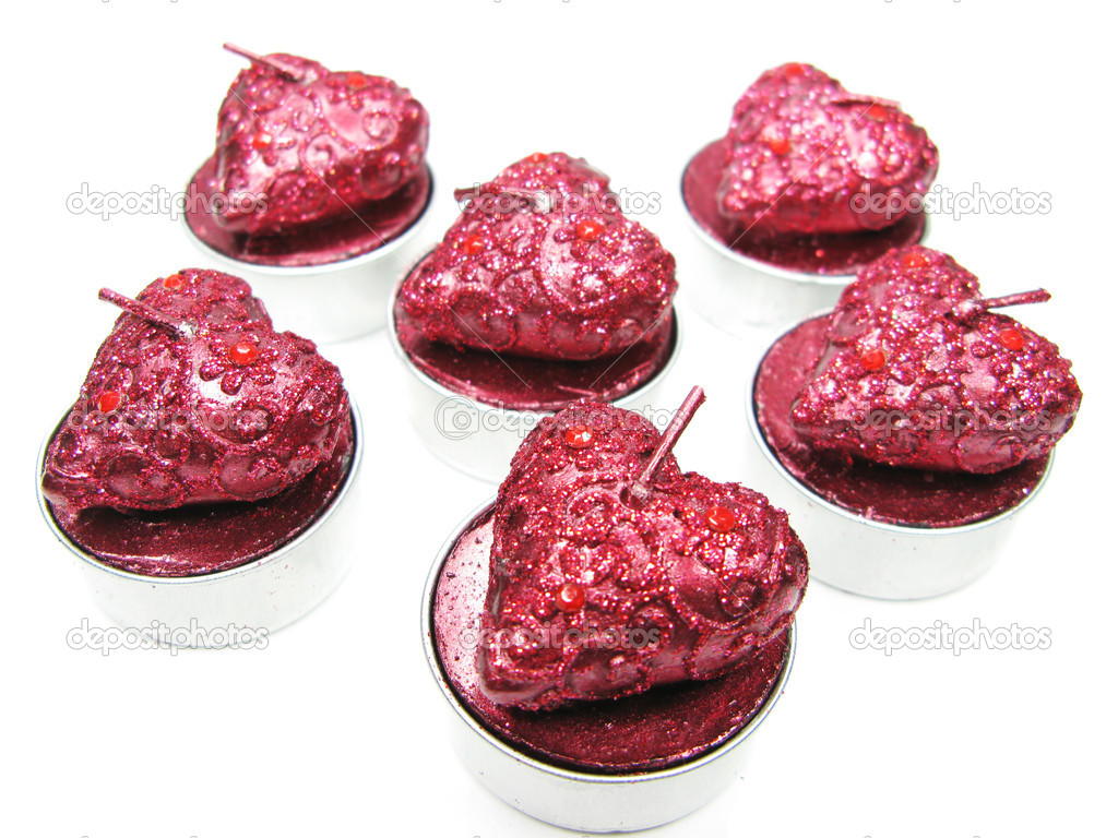 Set of aroma heart candles as present  Stock Photo #10038025