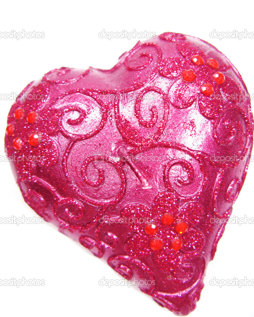 Pink spa aroma heart candle as present souvenir isolated — Stock Photo #10038110