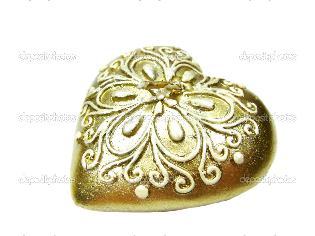 Heart bronze spa aroma candle as present souvenir isolated — Stock Photo #10038197