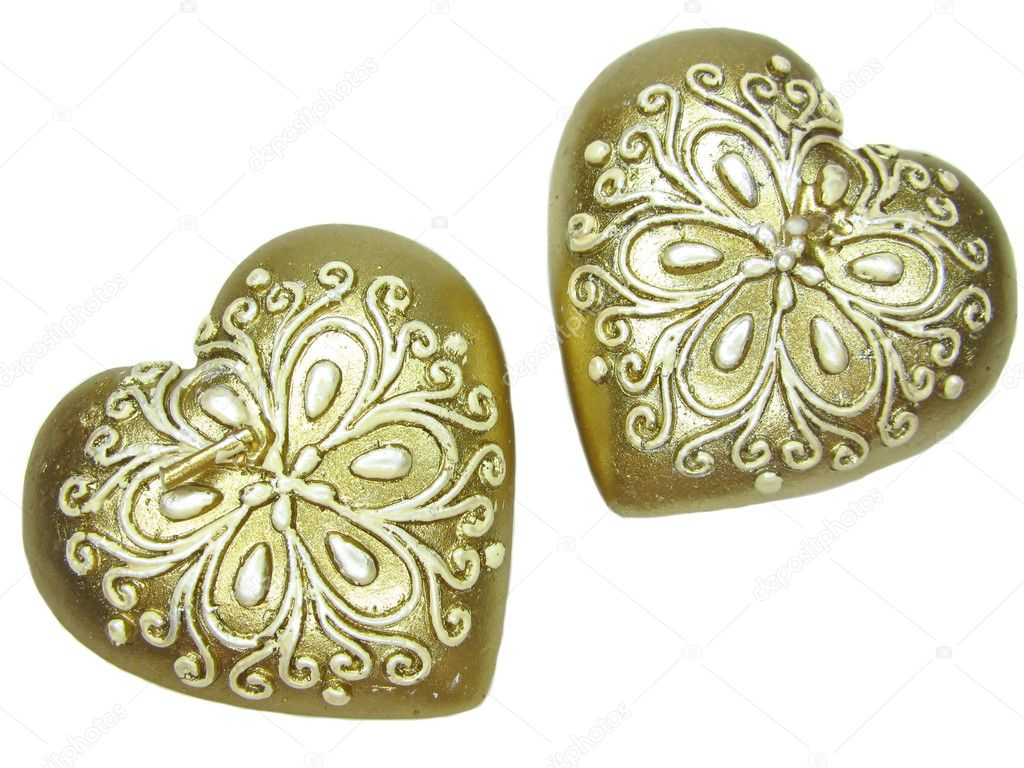 Set of heart candles as present in red box — Stock Photo #10039189