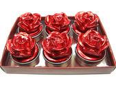 Rode kaarsen instellen rose bloem shape — Stockfoto